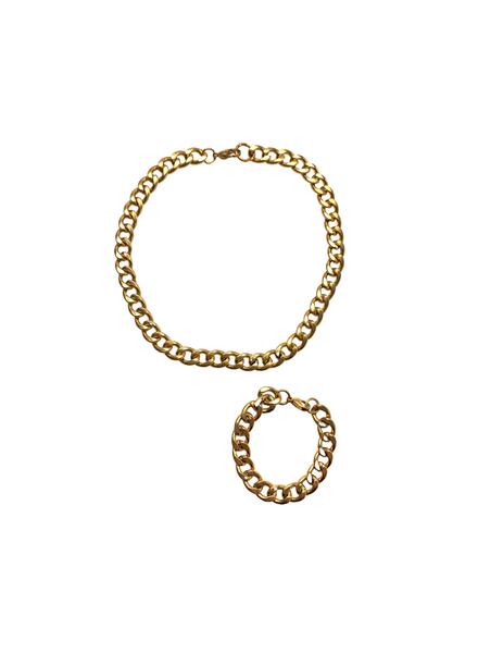 Chunky Gold Chain Necklace+Bracelet Set