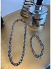 Chunky Silver Chain Necklace+Bracelet Set