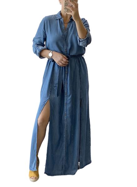 Long Sleeve Soft Denim Long Dress