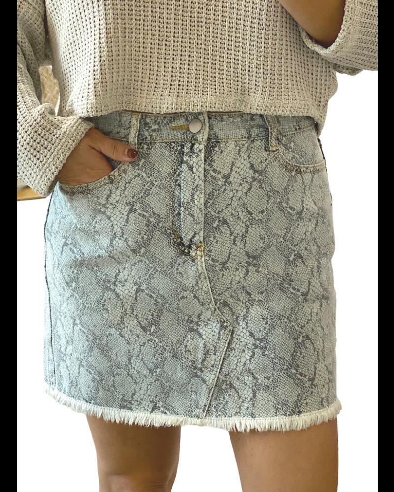 Fade Snake Print Mini Skirt