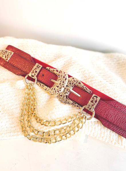 Elastic Red Vintage Belt w/hanging Chain