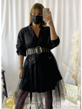 Oversize Dress with Mesh Detail
