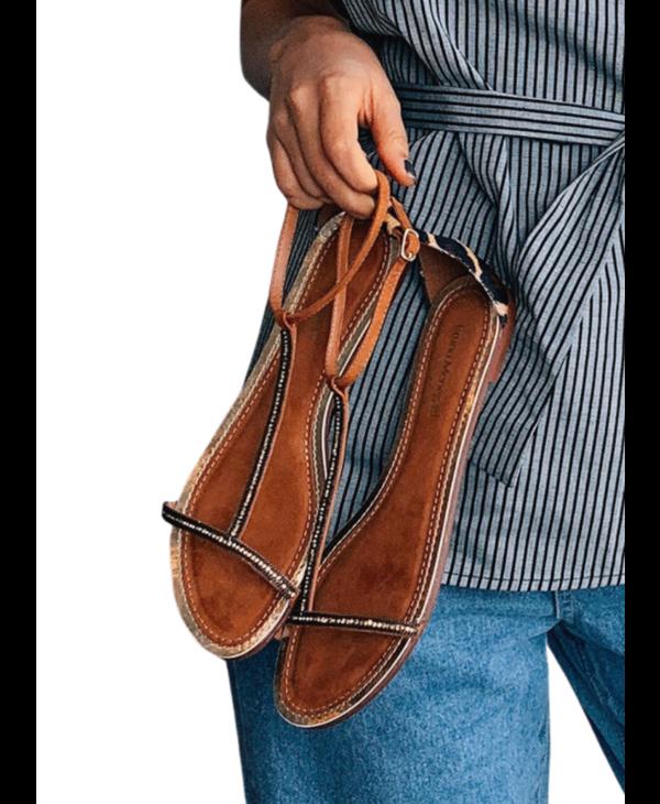 Resort Leather Nubuck Camel Sandal