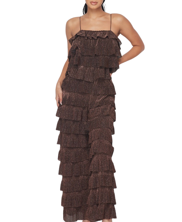 Lurex Layered Pleated Ruffle Off Shoulder Jumpsuit
