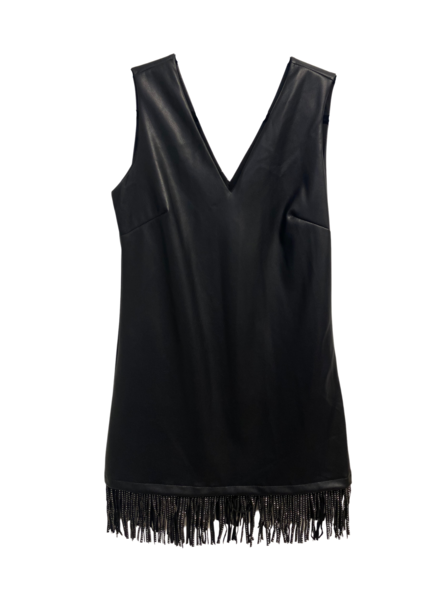 V Neck Leather w/ Fringes Detail