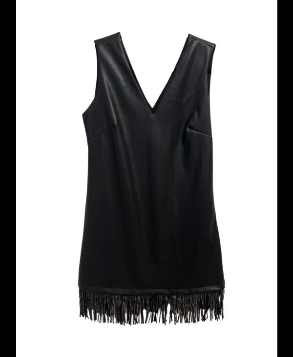 V Neck Leather Short Dress