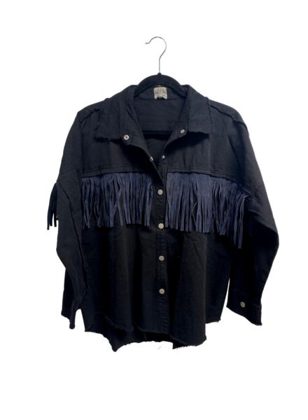 Fringe Button Down Shirt Jacket