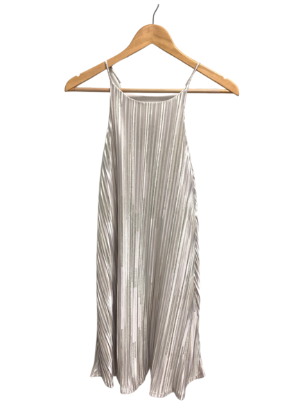 Spaghetti Strap Pleated Foil Dress