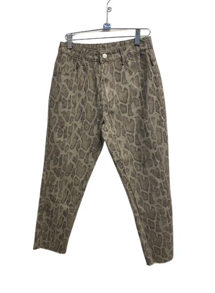 Fade Snake Print Washed Denim Pants