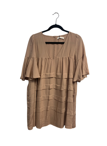 Pleated Dress with Wide Sleeve