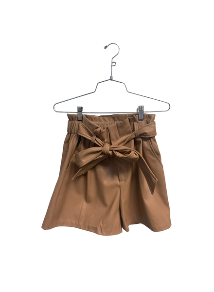 Faux Leather Shorts W Belt