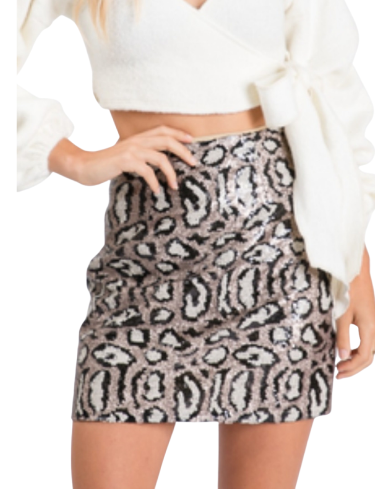 Sequins Leopard Print Skirt