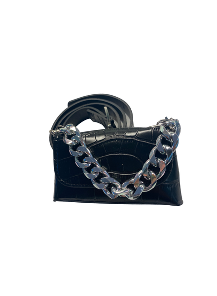 Black Phyton Crossbody Fanny Belt No Lock Closure