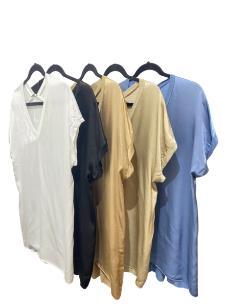 V Neck Front Satin TShirt