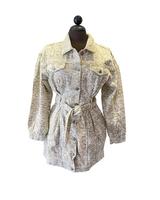 Long Sleeve Button Front Printed Denim Dress