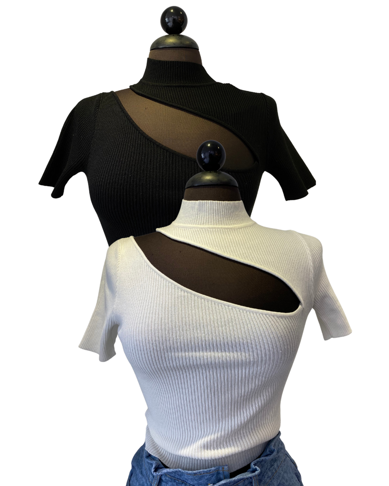 Short Sleeve Mock Neck Cut Out Detail Ribbed Top