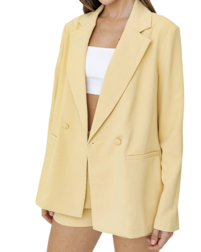 Double Breasted Blazer & Front Pleated Short Set