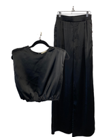 Muscle Crop & Long Pant Satin Set