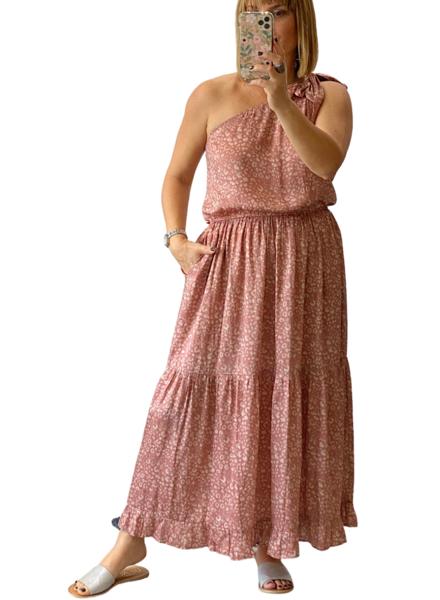 Satin Leopard One Shoulder Dress