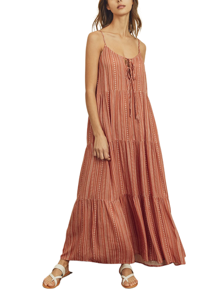 Boho Stripe Tiered Maxi Dress