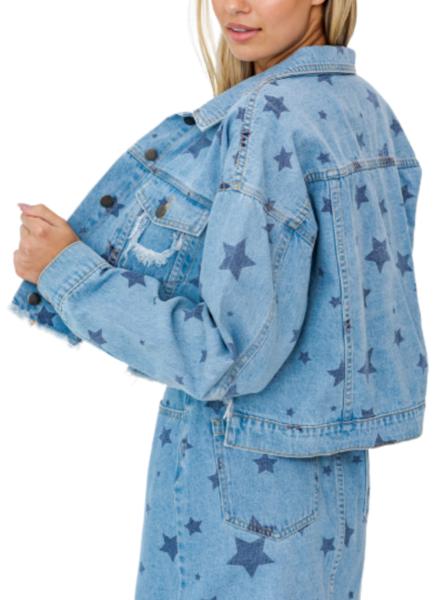 Star Print Denim Distressed Jacket