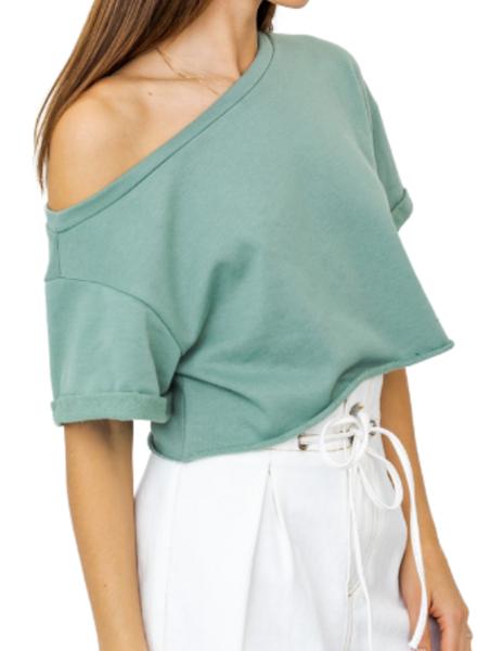 Slouchy Shoulder Crop Top