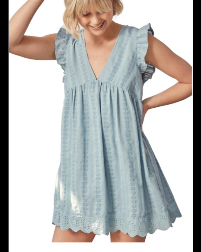 Embroidered V-Neck Dress W/Shorts