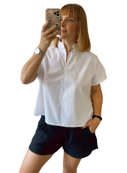 Short Sleeve Split VNeck Top