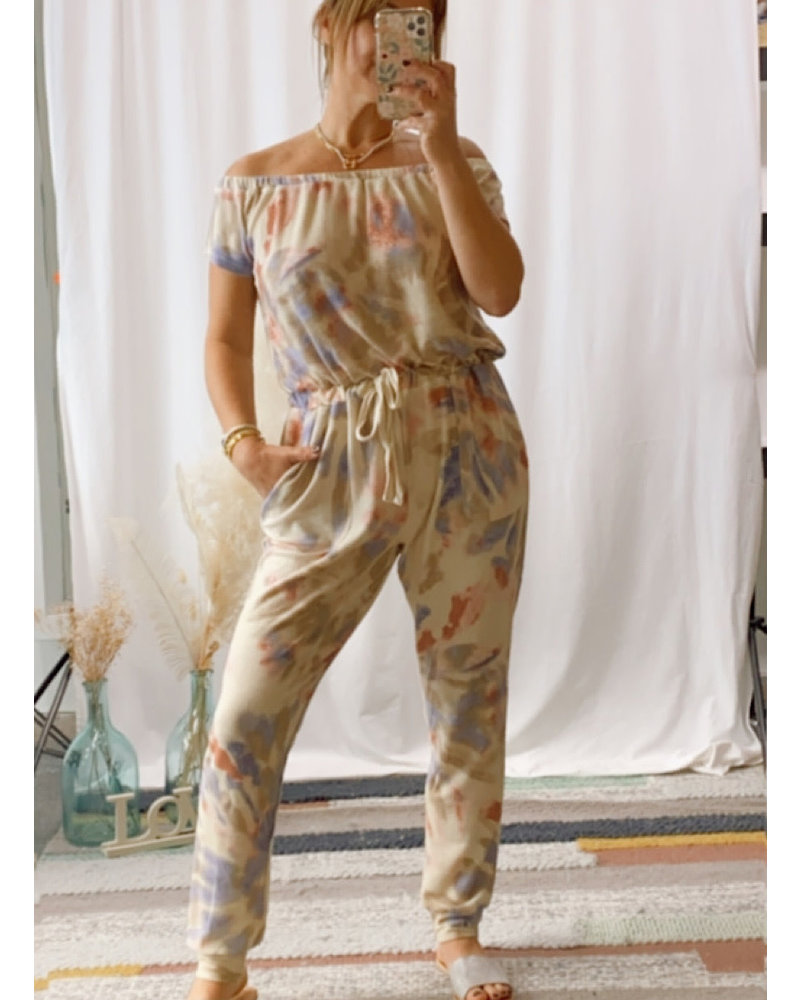 Tie Dye Off the Shoulder Jumpsuit
