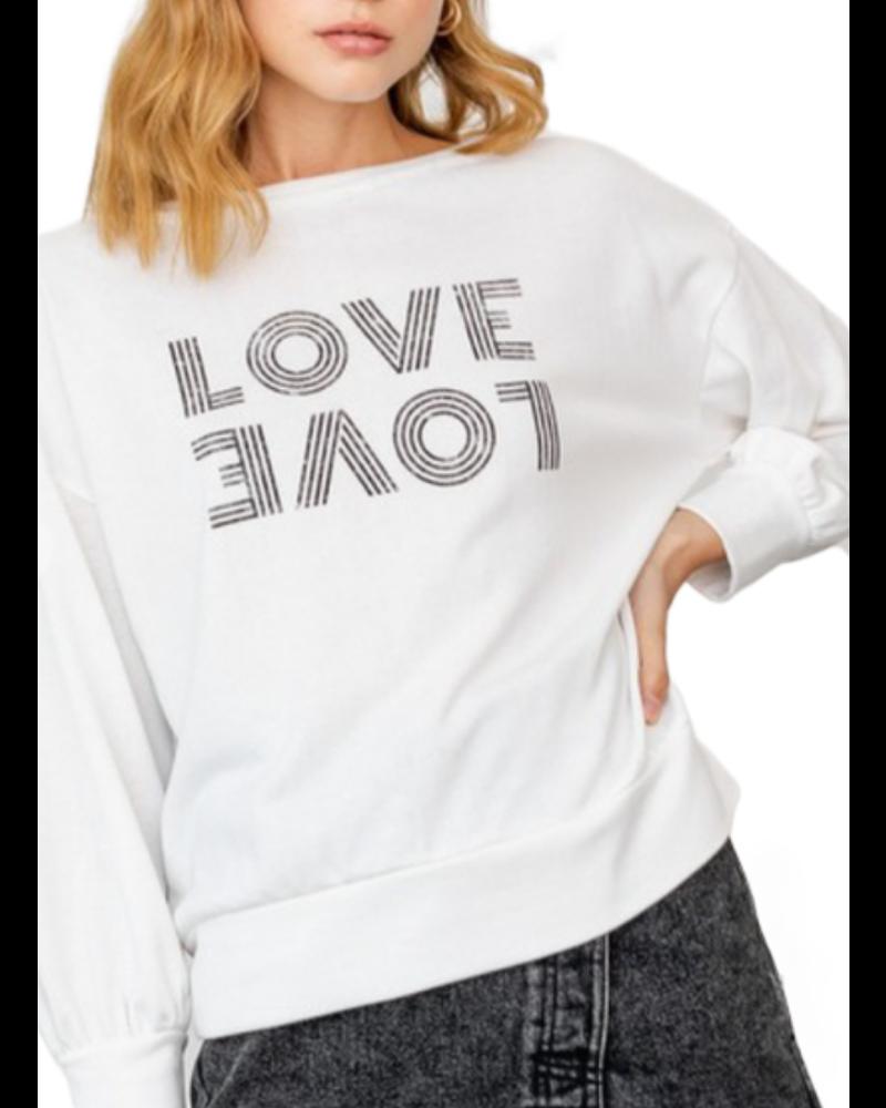 "Off Shoulder ""Love"" Graphic Top"