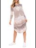 Long Sleeve Round Hem Bottom Casual Midi Dress