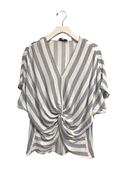 SS Twist Front Stripped Woven Top
