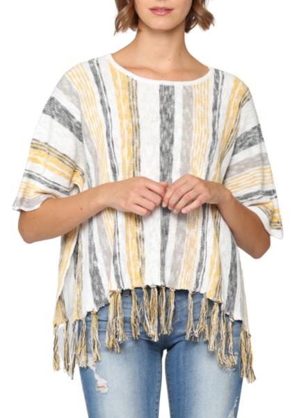 Striped Sweater w/Fringe Detail