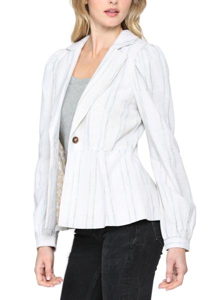 Puff Sleeve Linen Blend Peplum Jacket