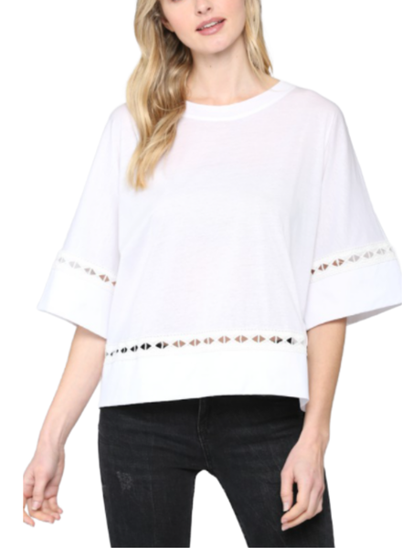 Wide Short Sleeve Top w/Lace Detail