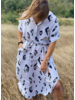 Animal Print Long Button Dress - One Size
