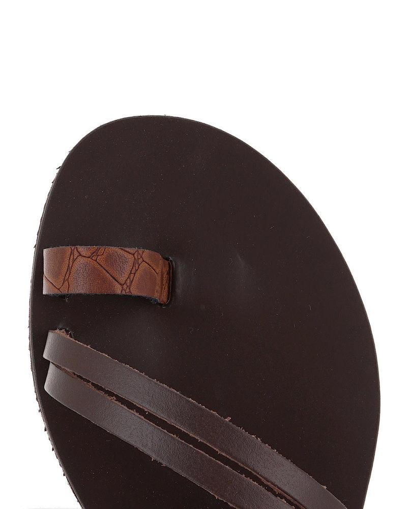 Brown Crocodile Leather Sandals