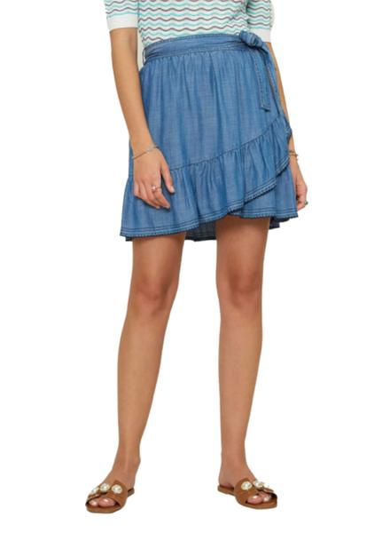 Ruffled Mini Skirt W/Scallop Edge Stitch Detail