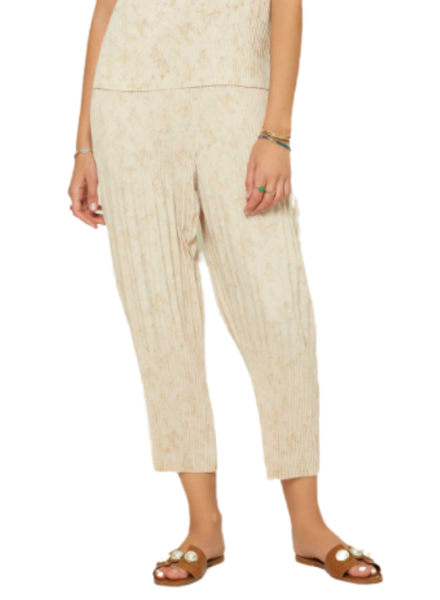 Marbled Elastic Waist Pull Over Pleated Crop Pants