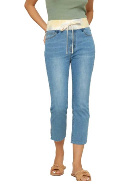 Contrast Tie Dye Rib Waist W/Drawstring Upcycled Jean