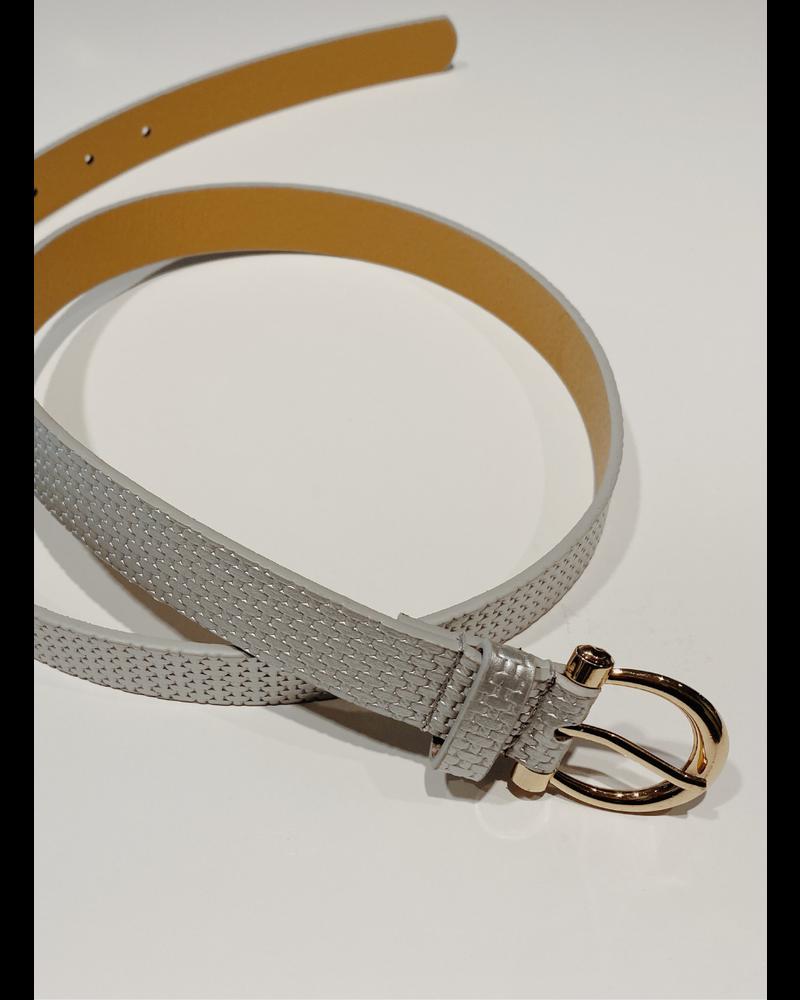 Thin Texture Belt Silver