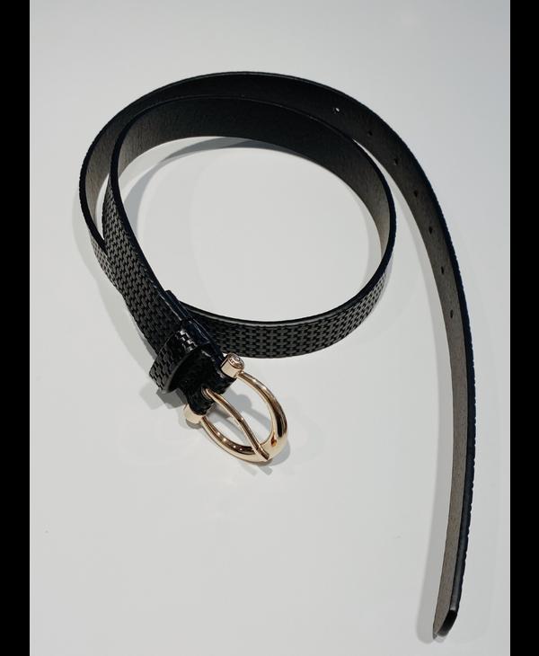 Slim Texture Belt Black
