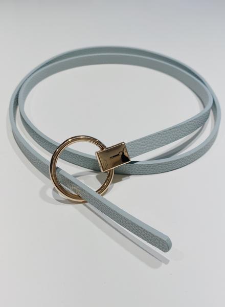 Extra Thin Circle Buckle Twist Belt Baby Blue