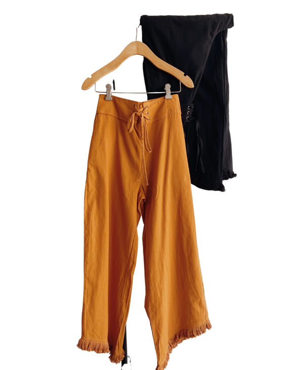 Front Eyelet Wide Pants
