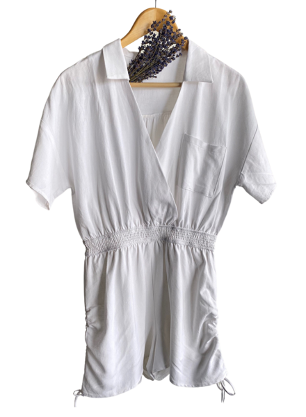 Side Shirring Surplice Romper