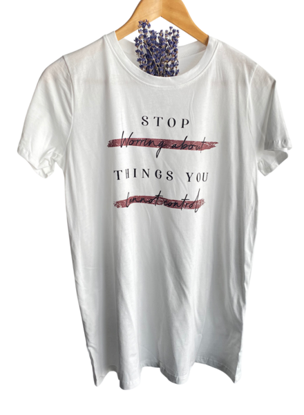 """Stop Worrying About Things You Can't Control"" Graphic Top"