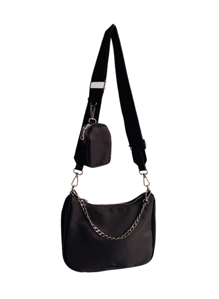 Nylon Crossbody Bag-Black