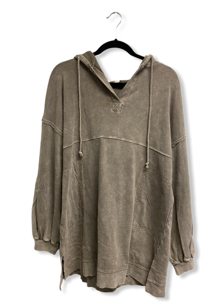 LS Terry Knit Mineral Washed Dress W/Hoodie