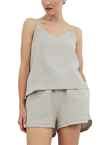 Cotton Double Gauze Button Pocket Short