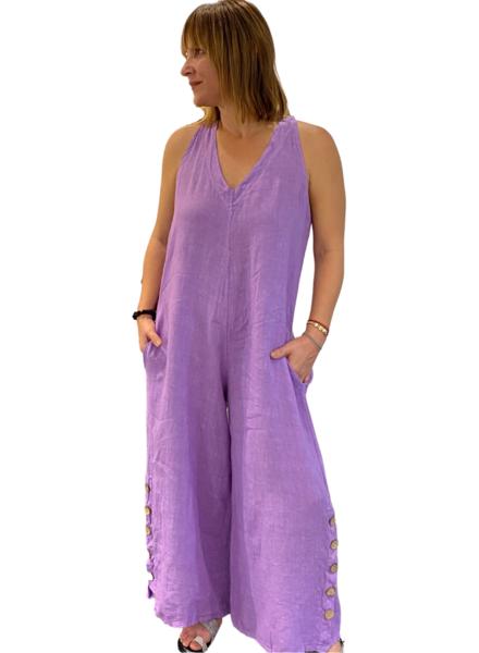 Linen Wide Jumpsuit W/Pockets & Button Legs